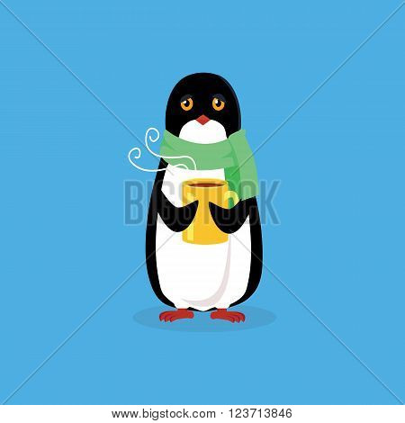 Animal penguin design flat. Bird penguin vector, cartoon polar animal winter isolated, penguin in scarf, wild penguin character with scarf and cup illustration
