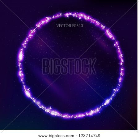Vector constellation round frame in space. Stock illustration of star frame for design