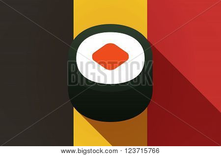 Long Shadow Belgium Flag With A Piece Of Sushi Maki