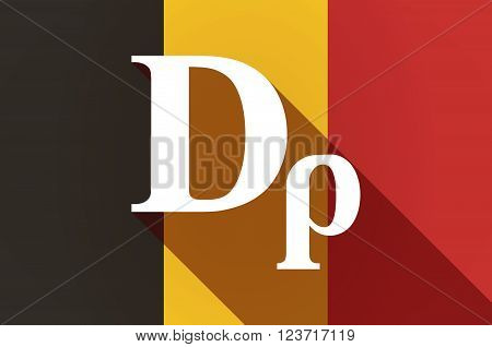 Long Shadow Belgium Flag With A Drachma Currency Sign