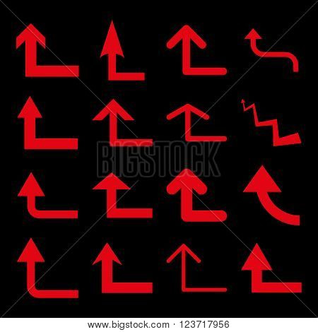 Turn Forward vector icon set. Collection style is red flat symbols on a black background. Turn Forward icons.