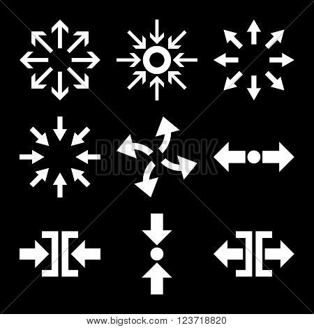 Compress and Explode Arrows vector icon set. Collection style is white flat symbols on a black background. Compress And Explode Arrows icons.