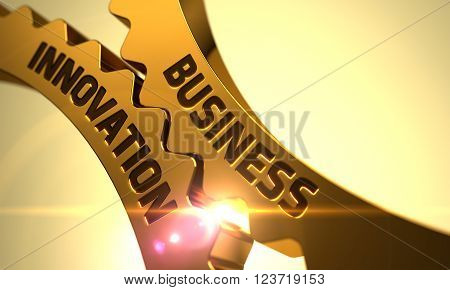 Business Innovation - Concept. Business Innovation on Mechanism of Golden Metallic Cog Gears with Lens Flare. Golden Cogwheels with Business Innovation Concept. Business Innovation Golden Gears. 3D.