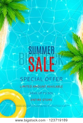 Summer sale flyer. Beautiful background on the sea topic with sea shore, sea water and palm trees for advertising. Vector illustration.