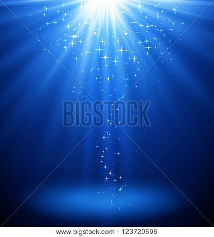 Abstract magic  light background. Blue holiday burst. Blur light