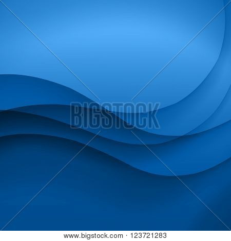 Blue vector Template Abstract background with curves lines and shadow. For flyer, brochure, booklet and websites design