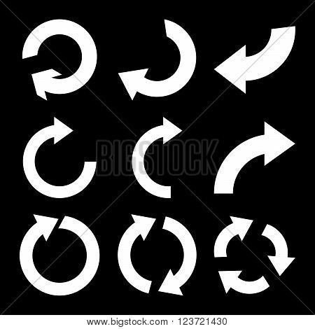 Rotate Clockwise vector icon set. Collection style is white flat symbols on a black background. Rotate Clockwise icons.
