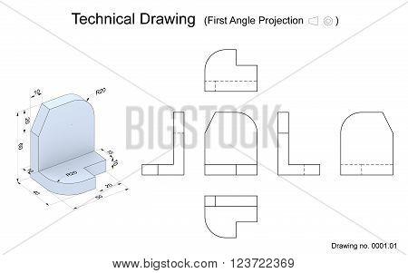 Technical drawing of a 3D model with a perspective and orthogonal views. First angle projection method. Part of a series.