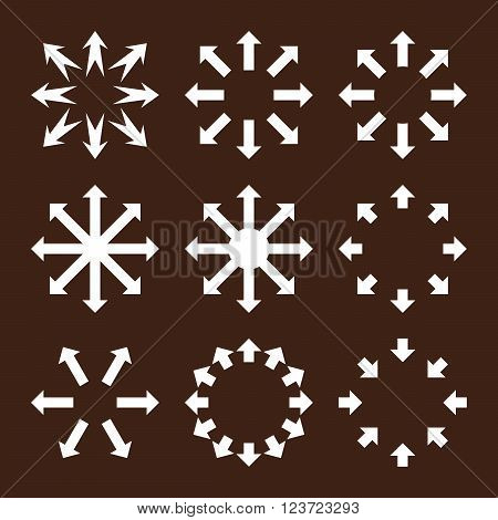 Maximize Arrows vector icon set. Collection style is white flat symbols on a brown background. Maximize Arrows icons.