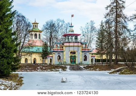TSARSKOYE SELO RUSSIA - MARCH 12: Chinise Pavilion in Catharine Park at March 12 2016 in Tsarskoye Selo (Pushkin) Russia