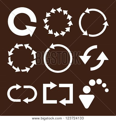 Rotate Arrows vector icon set. Collection style is white flat symbols on a brown background. Rotate Arrows icons.