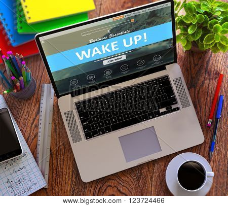 Wake Up Concept. Modern Laptop and Different Office Supply on Wooden Desktop background. 3D Render.