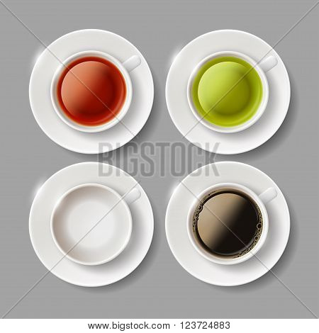 Set of ceramic cups with beverages of coffee green and brown tea. Stock vector illustration.