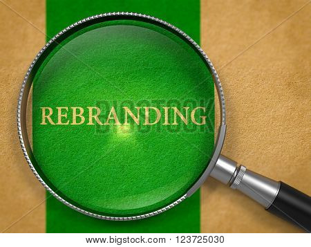 Rebranding through Magnifying Glass on Old Paper with Green Vertical Line Background. 3D Render.