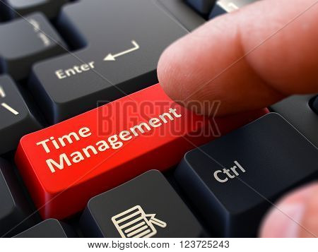 Computer User Presses Red Button Time Management on Black Keyboard. Closeup View. Blurred Background. 3D Render.