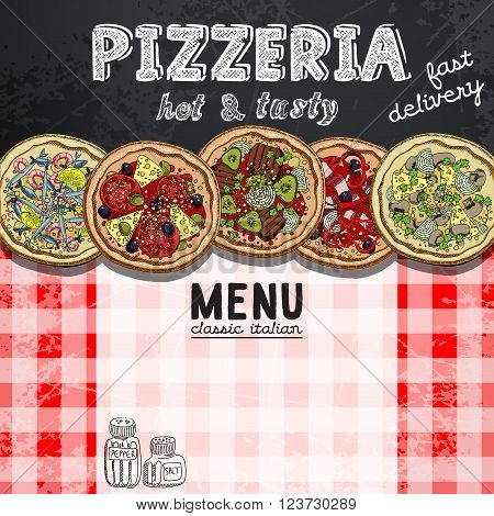 pattern for menu design in a pizzeria with pictures of different pizzas
