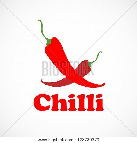 Pepper red chilli logo vector illustration isolated on background