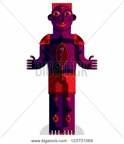 Flat Design Drawing Of Odd Character, Art Picture Made In Cubism Style. Vector Colorful Illustration
