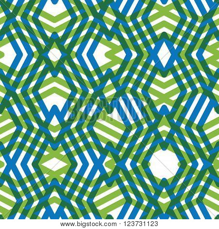 Bright rhythmic textured endless pattern vertical continuous intertwine textile geometric motif background with green splicing rhombs.