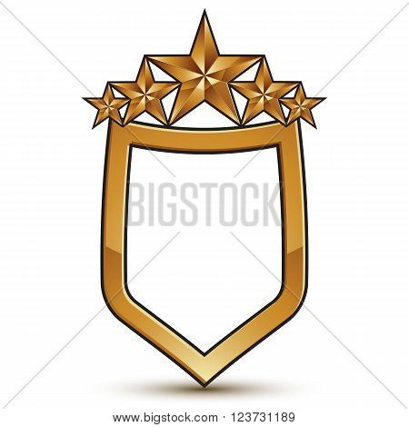 Renown Vector Emblem With Five Golden Stars, 3D Festive Design Shield Element, Clear Eps 8.