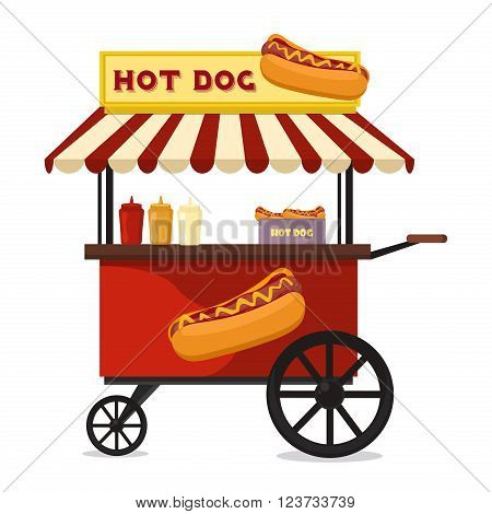 Fast food hot dog cart and street hot dog cart. Hot dog cart street food market, hot dog cart stand vendor service. Kiosk seller fast food business. Hot dog fast food shop street cart city flat vector