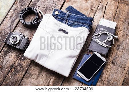 Woman Travelling Stuff On Wooden Background.