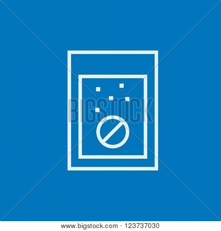 Tablet into glass of water line icon.