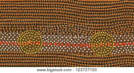 Roundels in aboriginal art can mean a campsite or a water hole.These sites are very significant to Australian indigenous people living in the central area of Australia.