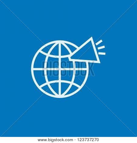 Globe with loudspeaker line icon.
