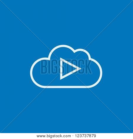 Cloud with play button line icon