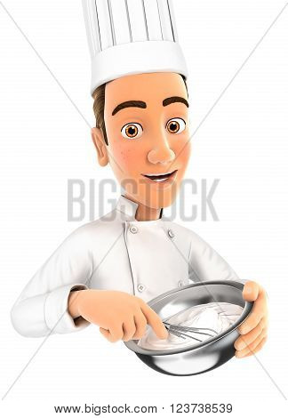 3d head pastry chef holding whisk and bowl isolated white background