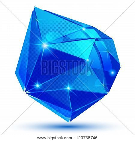 Plastic grain blue dimensional geometric object sparkling synthetic dotted element.