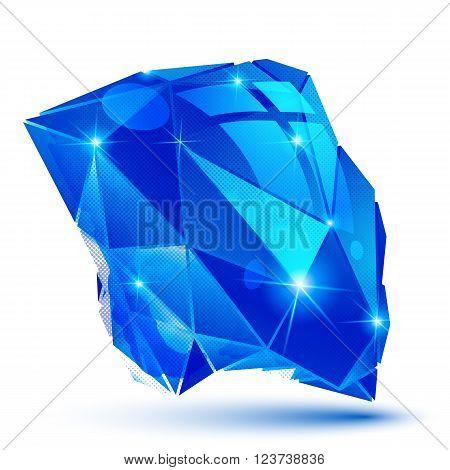 Blue plastic pixel dimensional object, shiny futuristic 3d model.