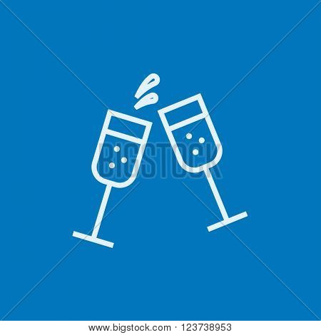 Two glasses of champaign line icon.