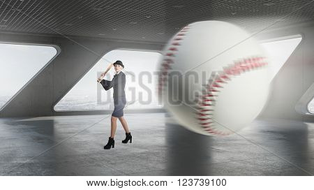 Baseball woman in interior