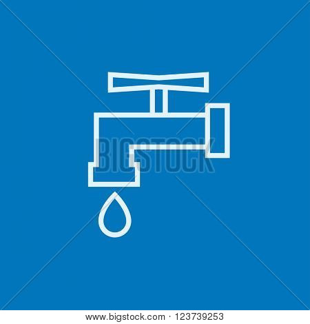 Faucet with water drop line icon.