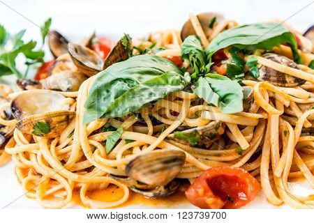 Pasta with Clam Dinner Dish on a the table.
