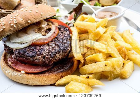 Cheese burger - American cheese burger with Golden French fries.