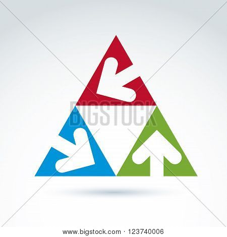 Vector abstract emblem with three multidirectional arrows placed in triangles. Conceptual corporate symbol colorful pyramid icon.
