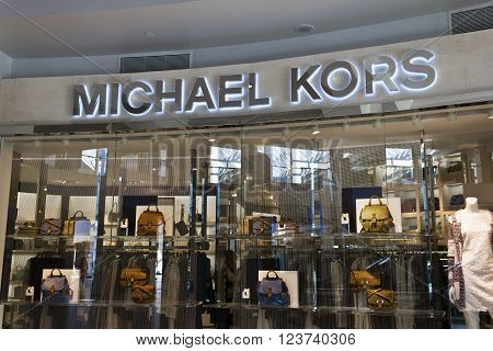 Indianapolis - Circa March 2016: Michael Kors Retail Store. Kors Offers Classic Clothing Handbags & Accessories I