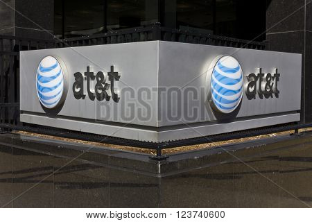 Indianapolis - Circa March 2016: AT&T Indiana Headquarters. AT&T Inc. is an American Telecommunications Corporation IV