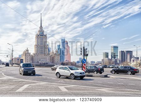 Moscow Russia - March 29 2016: Radisson Royal hotel (Ukraine hotel) is one of the tallest buildings in the city. Radisson Royal hotel located on the banks of the Moscow river and has its own fleet of yachts.