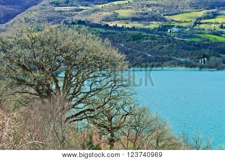 Beautiful Italian natural landscape. Lake Fiastra.