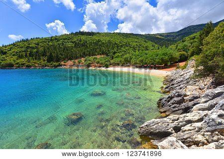 Famous Horgota beach on Kefalonia island in Greece.