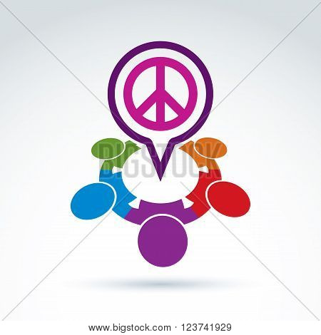 People Chat On Harmony Idea.  Conceptual  Antiwar Sign From 60Th, Hippy Icon.  Speech Bubble With A