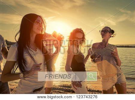 Friends funny dance on the beach under sunset sunlight.