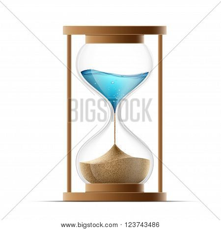 Icon hourglass with the sand and water. Global warming and arid climate. Stock vector illustration.