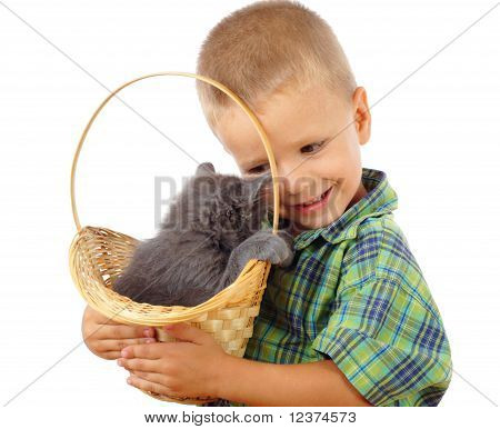 Little boy with gray kitty in wicker isolated on white poster