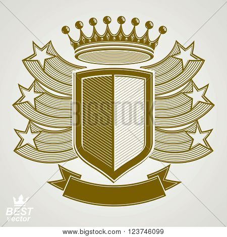 Empire stylized vector graphic symbol. Shield with 3d flying stars and imperial crown. Coat of arms, security idea. Elegant coronet web design icon.
