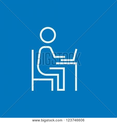 Businessman working at his laptop line icon.